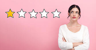 Five star graphic, with one star filled in. Woman on the end looking frustrated with poor reviews