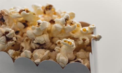 close-up of movie theater popcorn