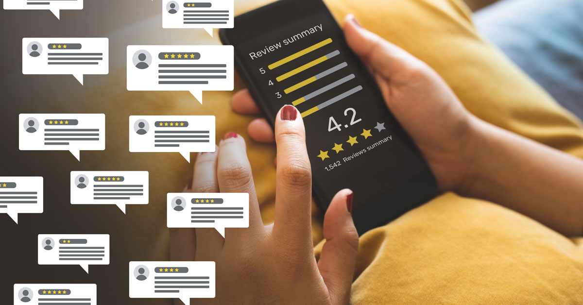 Woman looking at online review ratings, with pop ups listed on screen alongside her