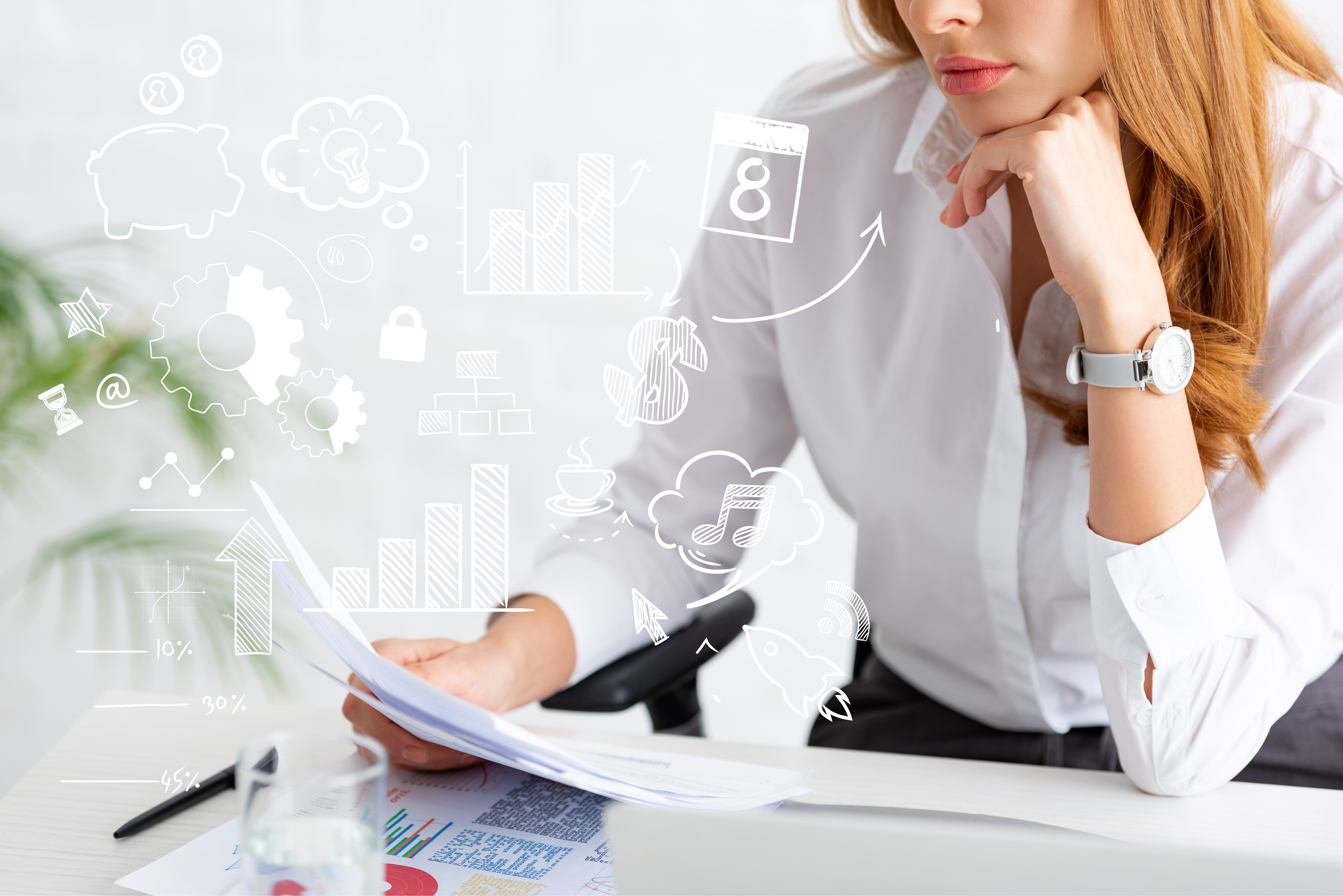 Woman holding paperwork and data, with digital marketing symbols around her hands