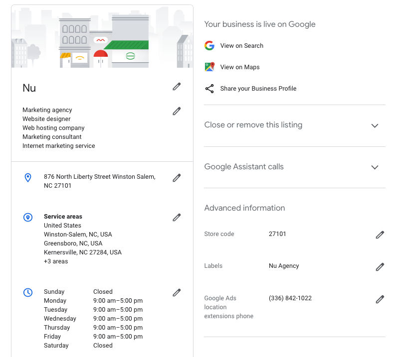 Google My Business Information Settings